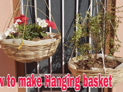 How to make Hanging basket under 50 Rs,  How to make hanging basket at home
