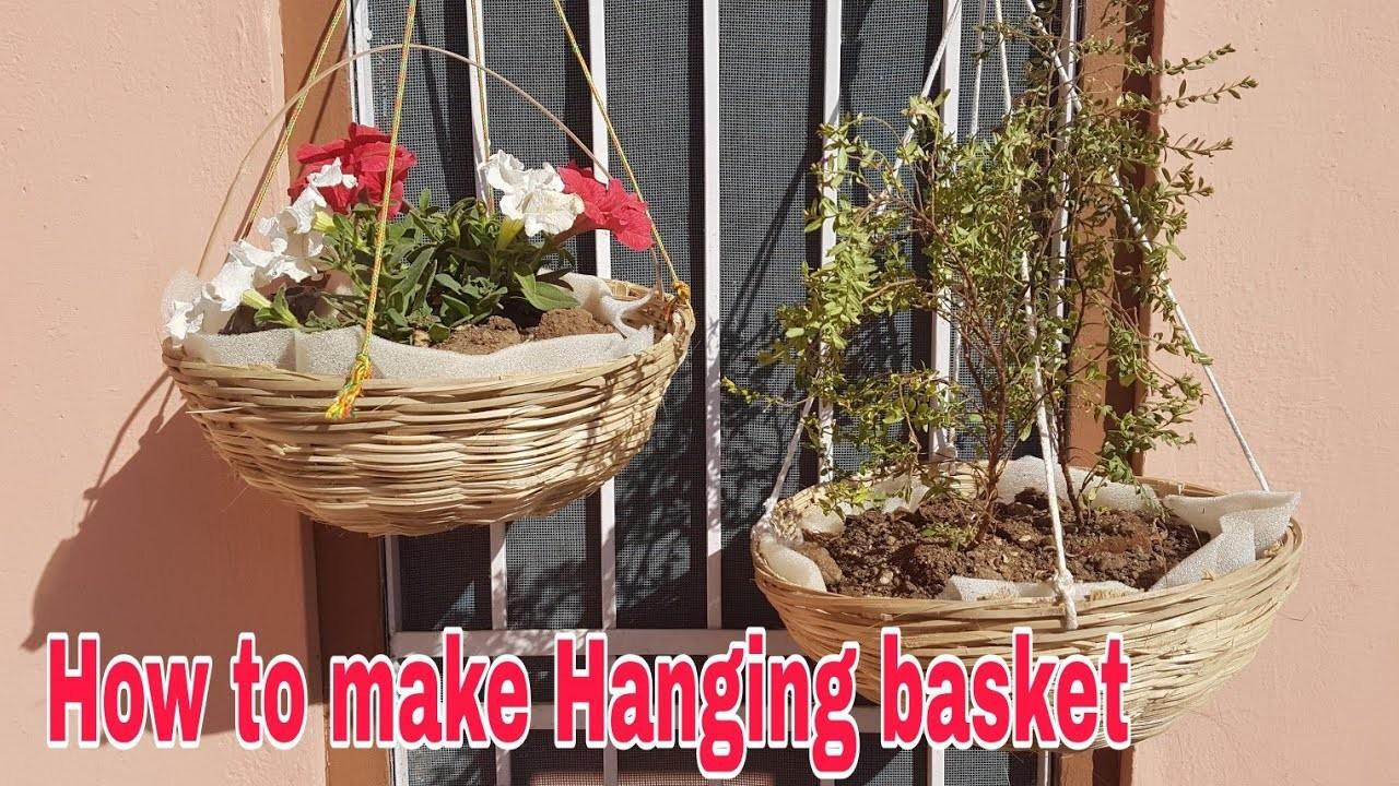 How to make Hanging basket under 50 Rs,  How to make hanging basket at home