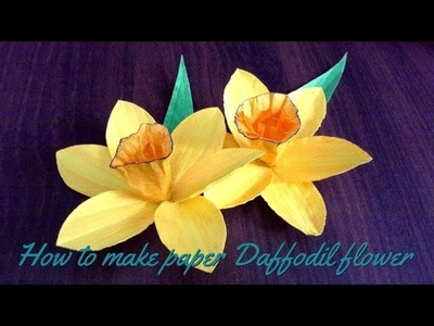 How to  make paper DAFFODIL FLOWER l DIY DAFFODIL FLOWER l creating crafitng