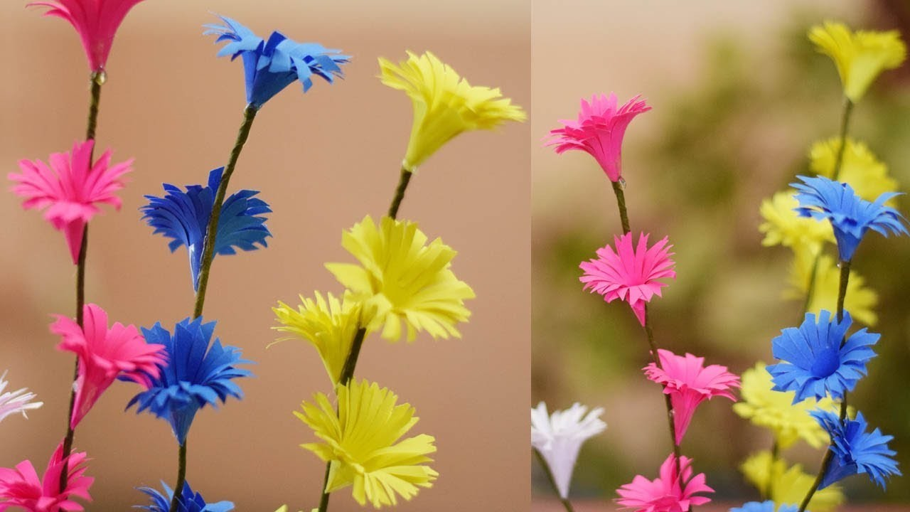 How To Make Paper Flower Bouquet Origami Paper Flower Stick Diy