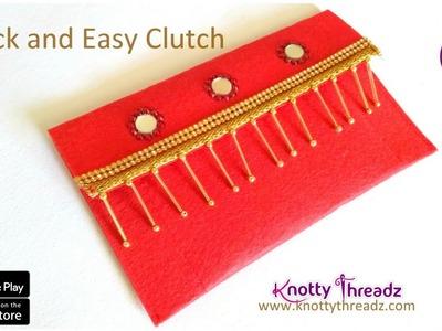 How to sew a Clutch for beginners | DIY Using Felt | Fancy Purse | Tutorial | www.knottythreadz.com