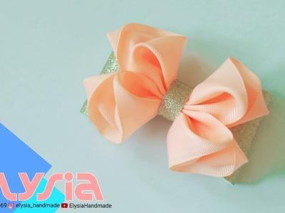 Laço Kanzashi Glitter | Glitter Kanzashi #Ribbon Bow | DIY by Elysia Handmade