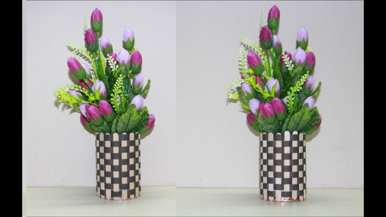 Make Flower Vase With Ice Cream Sticks
