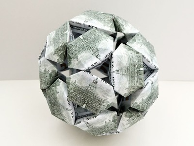 Money CUBRICK Origami Dollar Ball Tutorial DIY Kusudama Folded No glue