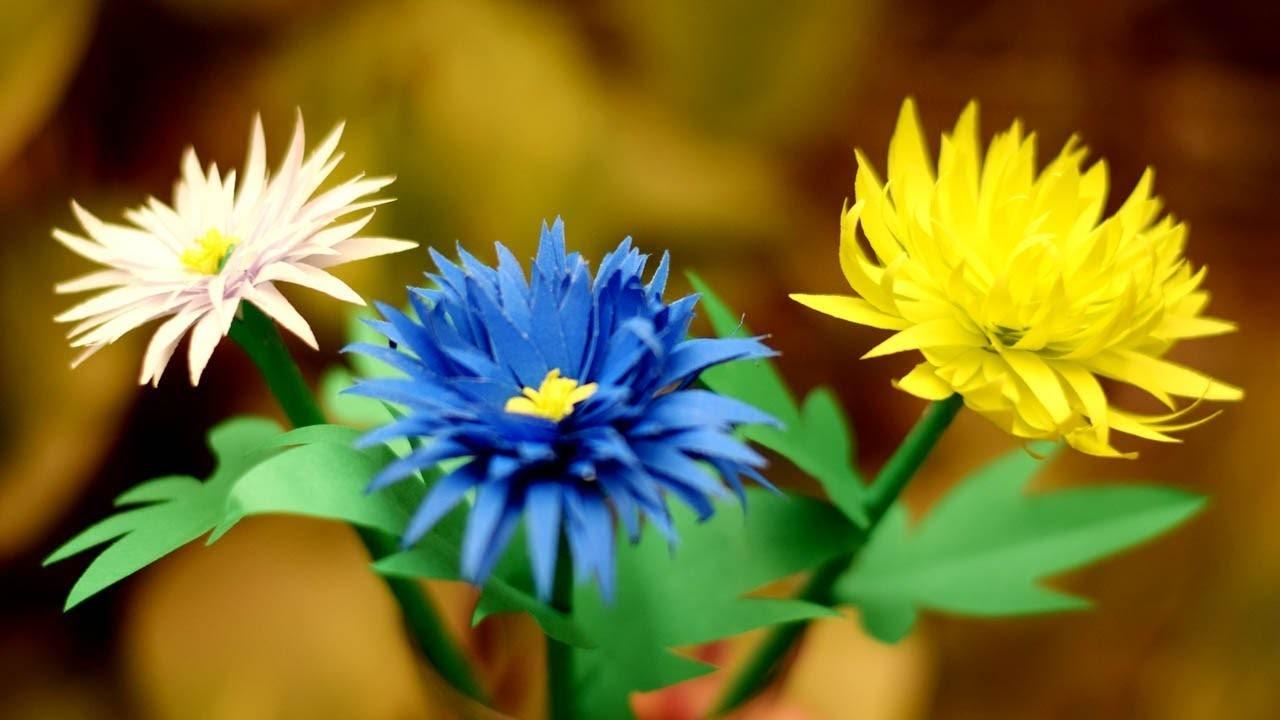 Paper Flower Stick. DIY Paper Craft. Handcraft. DIY: How to Make Beautiful Color Paper Flower Stick