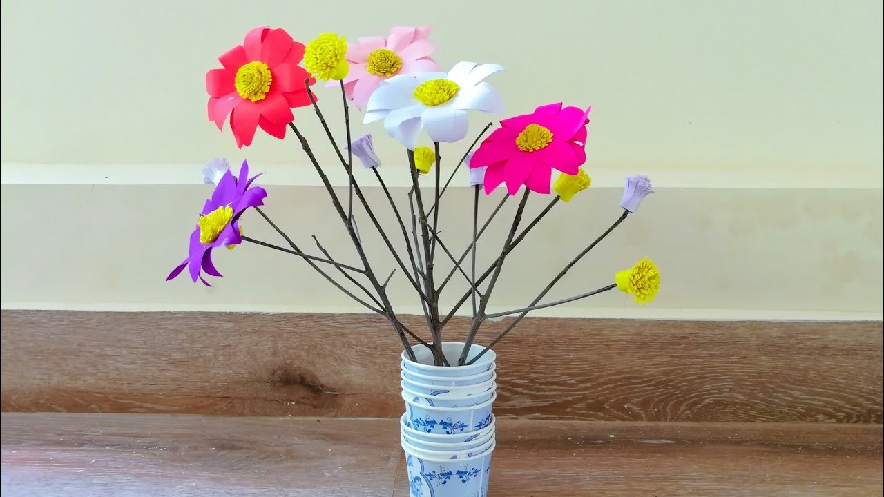 Room decor. Twigs crafts. Paper flower decoration with Twigs. Tree branches craft. paper flowers
