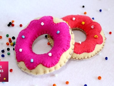 Sweet Felt Donuts - DIY : How to make Sweet Felt Donuts Plush. Felt Crafts - Kids Crafts.