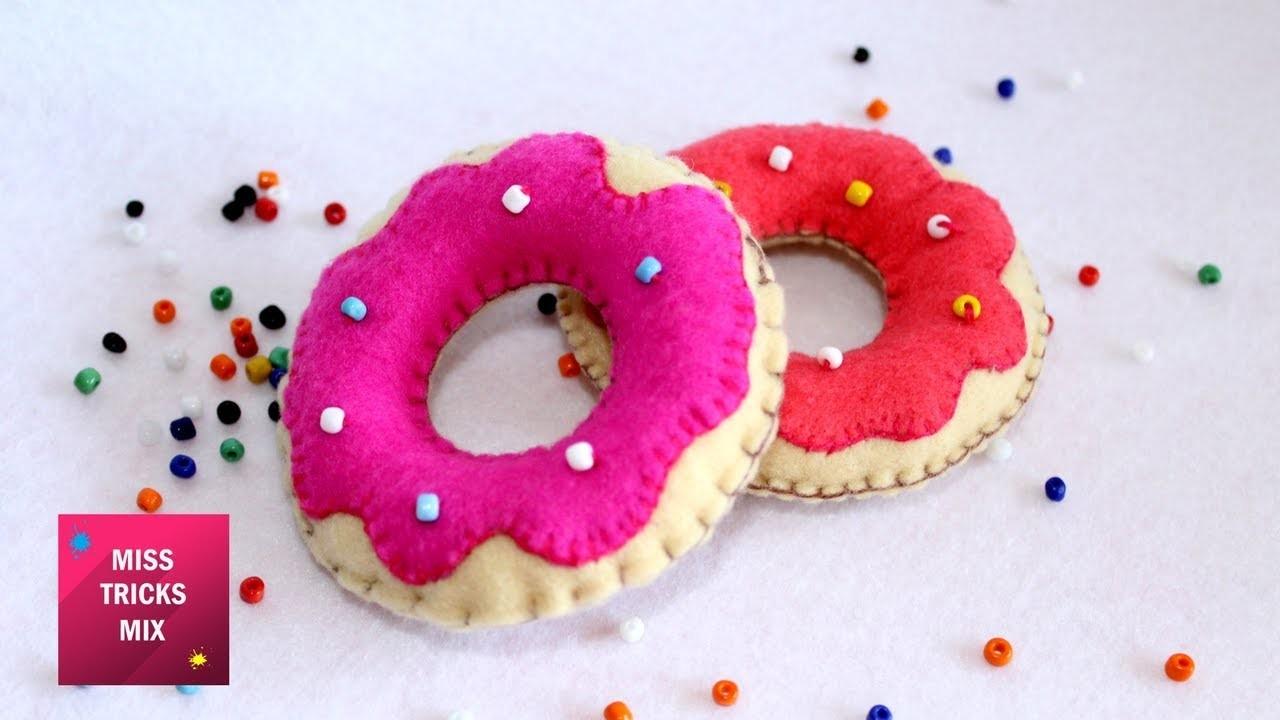 Sweet Felt Donuts - DIY : How to make Sweet Felt Donuts Plush. Felt Crafts - Kids Crafts.
