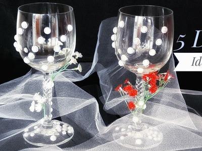 Wedding GLasses Decoration - 5 Ideas DIY Wedding Glasses Design Tutorial