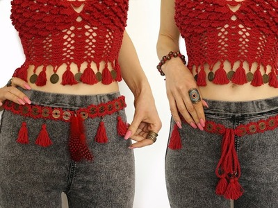 Coin Belt Chain Crochet Belly Dance Belt Gypsy Red Tassel Vintage Boho Transformer - INSTRUCTION