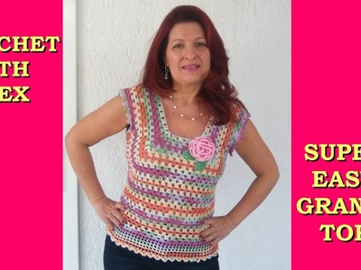 CROCHET SUMMER GRANNY TOP ANY SIZE TUTORIAL