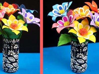 DIY - Best Paper Flower & Plastic Bottle Vase Tutorial - Paper Flowers for Beginners