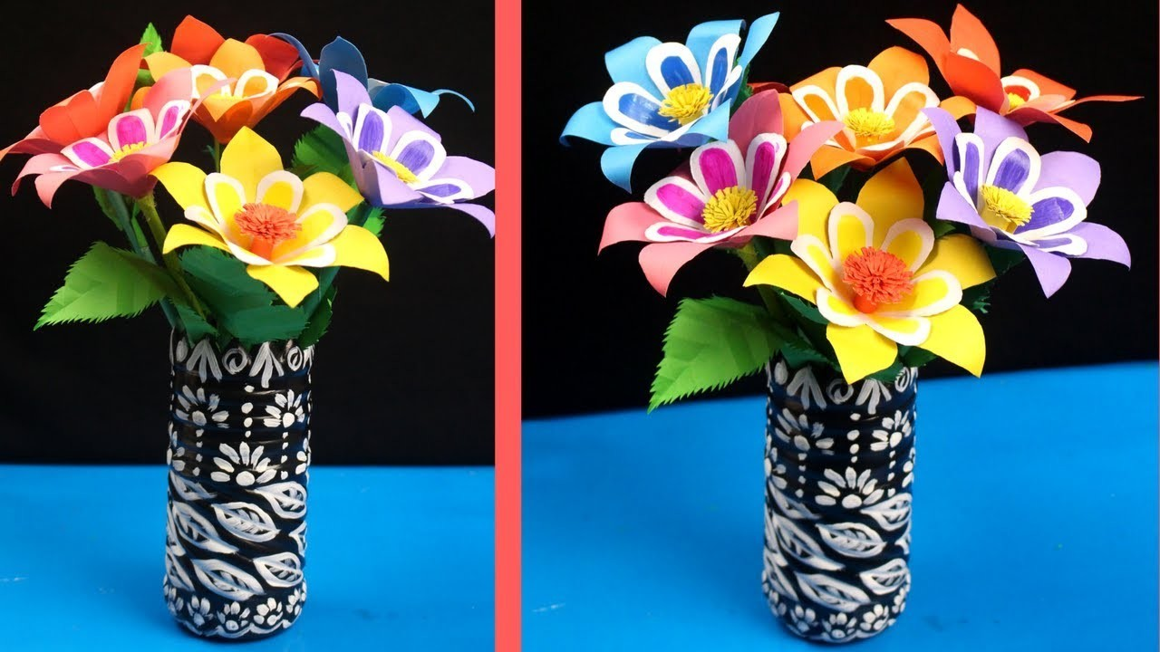 DIY - Best Paper Flower & Plastic Bottle Vase Tutorial - Paper Flowers for Beginners