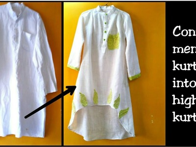 DIY:Convert Mens Old Kurta Into High Low Dress for girls~