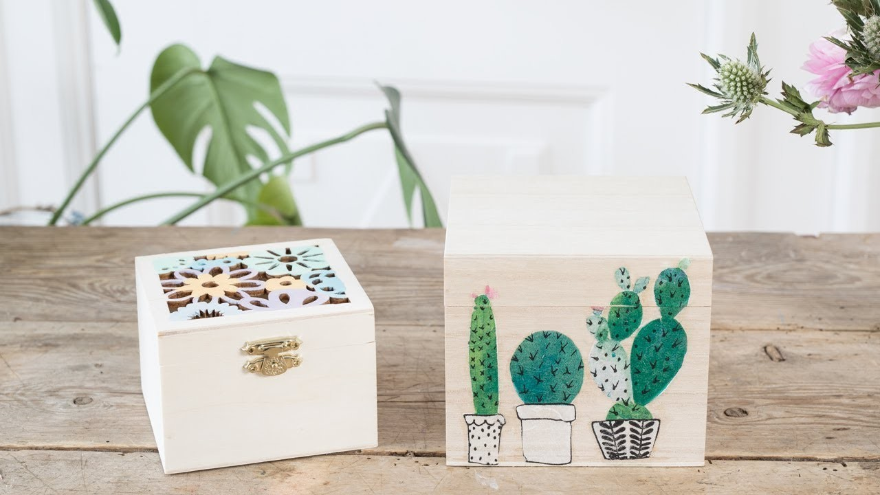 DIY : Decorate your wooden boxes by Søstrene Grene