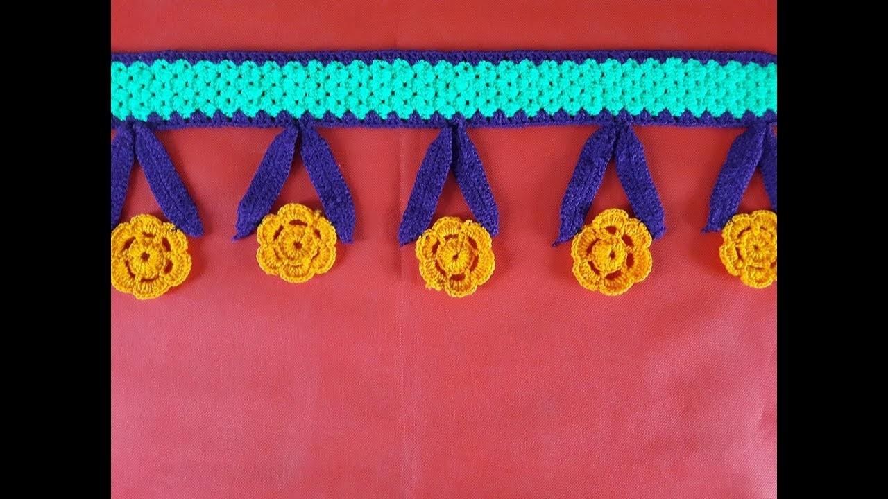 DIY Door Hanging Toran from Woolen Flowers Toran    DIY - How to Make Door Hanging Tooran Very Easy