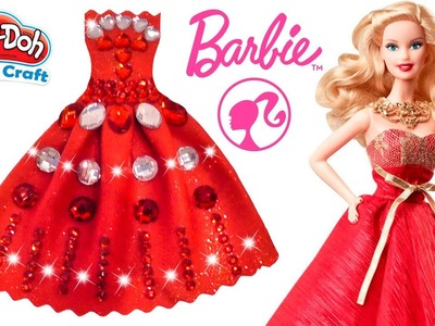 DIY How to Make Play Doh Sparkle Barbie Princess Dress Play Doh Super Craft For Kids