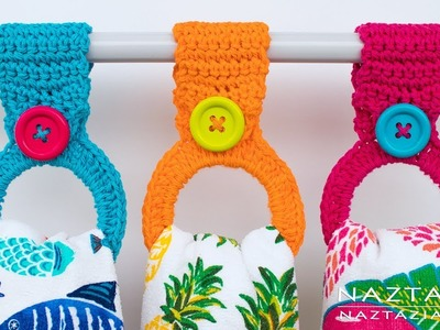 How to Crochet a Hanging Ring Towel Holder - Easy Toppers for Kitchen