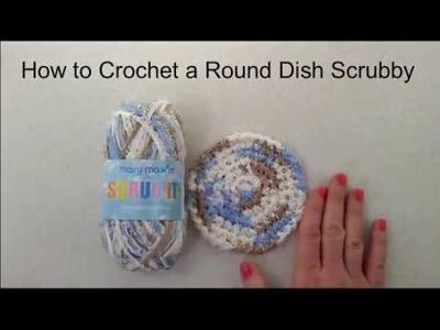 How to Crochet a Round Cotton Dish Scrubby - Using Mary Maxim Scrub It! 100% Cotton Yarn with Fringe