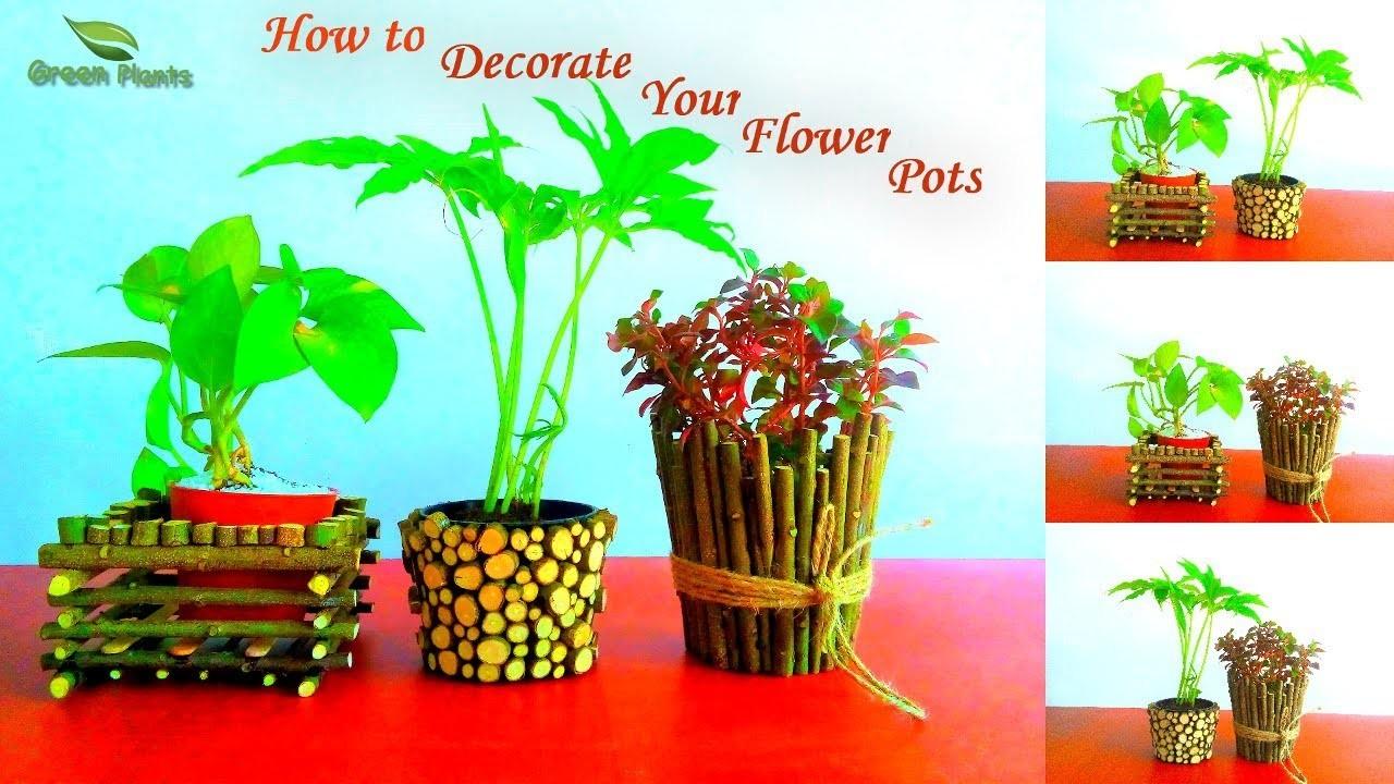 How to Decorate Your Small Flower Pots | Pots Decoration Ideas | Garden DIY Ideas.GREEN PLANTS