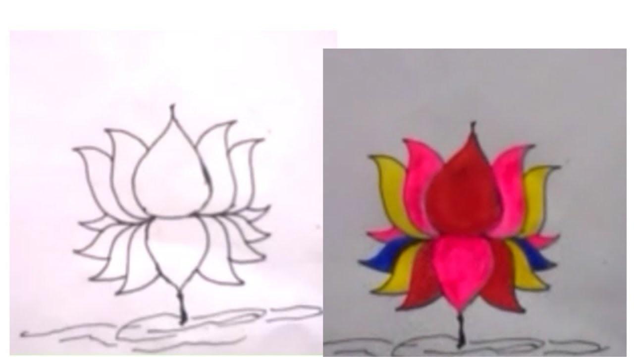 How To Draw Lotus Flower Kamal Ka Phul Kaise Banaye