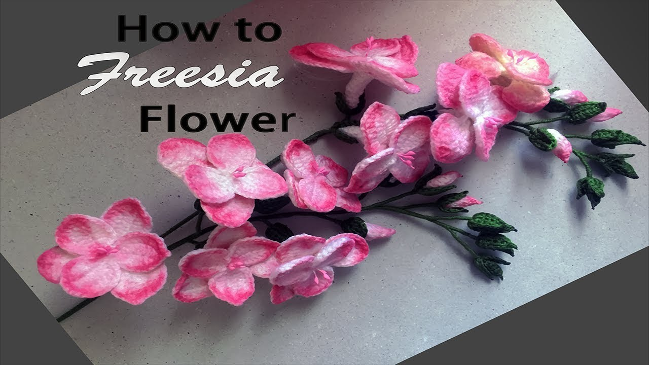 How to Freesia Flower Crochet ถักดอก freesia part2