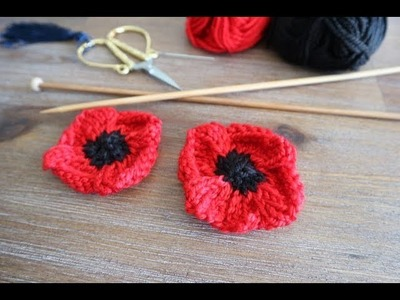 How to knit poppy flowers