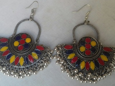 (HOW)TO MAKE A BEAUTIFUL PARTY WEAR EARRINGS.SILVER MATERIAL USE.THE STUNNING HANDMADE. .