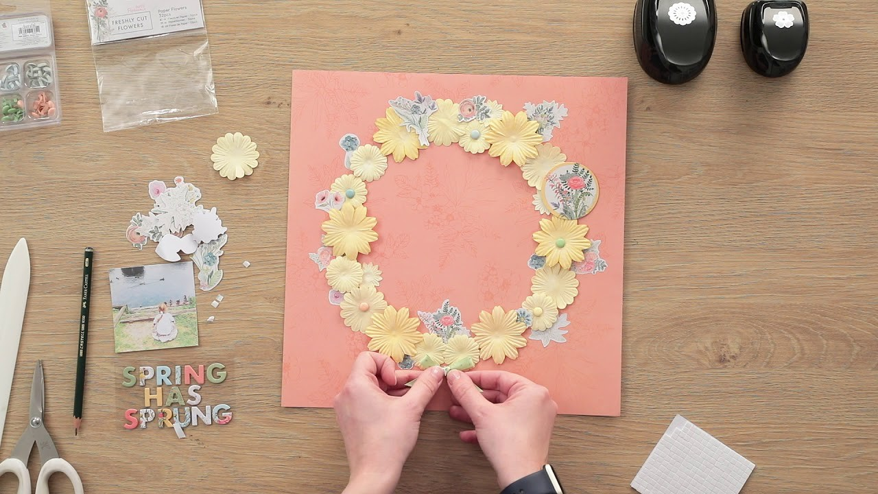 How to make a floral wreath scrapbook layout with Charlotte Pollard