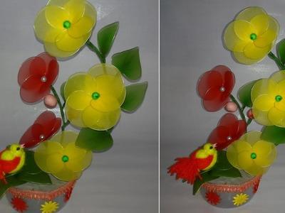 How to make a nylon stocking flowers||making net flower||dustu pakhe