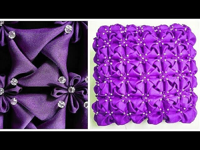 Capitone Cojines.How To Make Beaded Smocking Cushion Cover Rose Satin Fabric Flower
