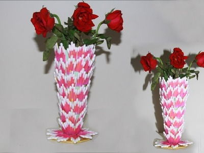 How To Make beautiful flower vase with cotton buds - Amazing room decor ideas