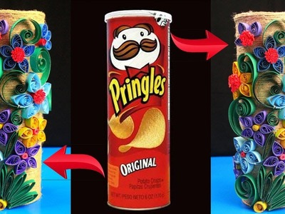 How to Make Best out of waste Flower vase - Very Cool Ideas of Using Jute,Paper and Pringles Can