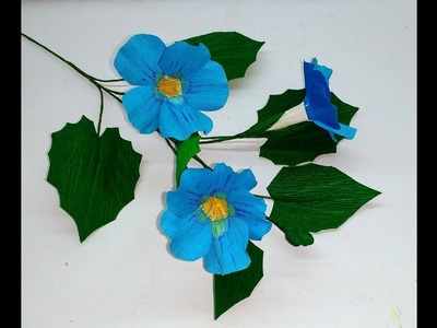How to make Crepe paper flowers Blue Thunbergia. Thunbergia Grandiflora ( flower # 266)