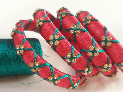 How to make criss cross red green silk thread bangles at home. thread bangle making video