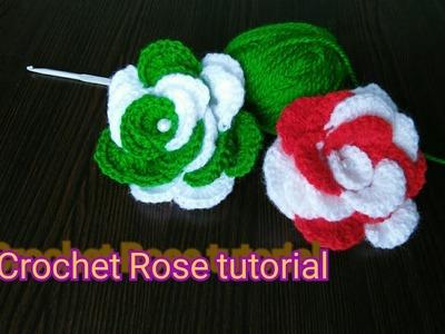 How to make crochet Rose | crochet flower making | crochet rose  tutorial | rose making with crosia
