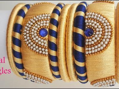 How to make designer silk thread bangles at home || Kada bangles with silk thread