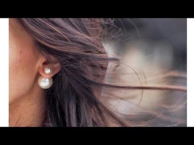 How To Make Double sided Pearl Earrings.Dior Earrings.Trendy Earrigs. !