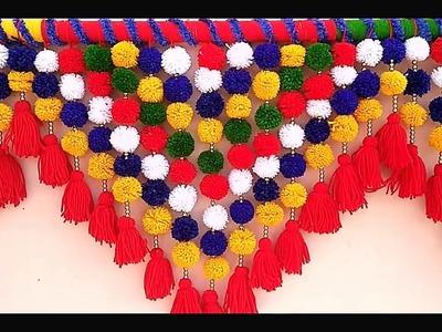 HOW TO MAKE EASY DOOR TORAN FROM WOOLEN || Handmade Woolen Toran