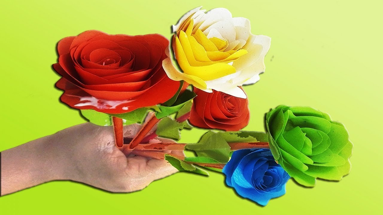 How To Make Easy Paper Small Rose Making Paper Flowers Step By Step