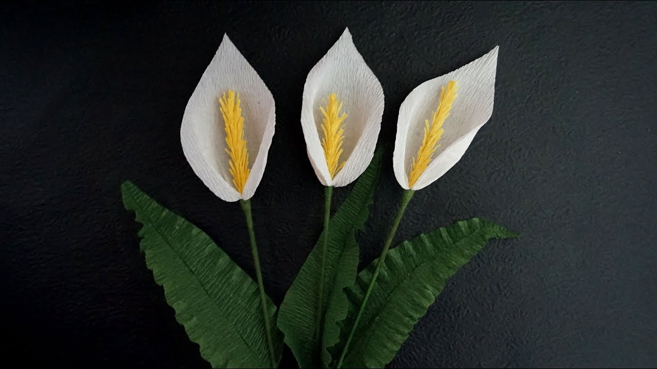 How To Make Paper Calla Lily Easy And Quick Paper Flowers Crepe