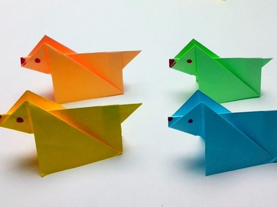 How to make paper easy DOG? (3D Origami Animals Instructions)