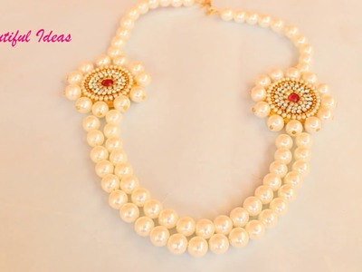 How to Make Pearl Designer Necklace .Step Chain Bridal Pearl Designer Necklace.Beautiful Ideas