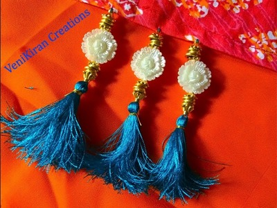 How to Make Saree Tassel.Kuchu design with Beads @ Home - Design 54::Tutorial