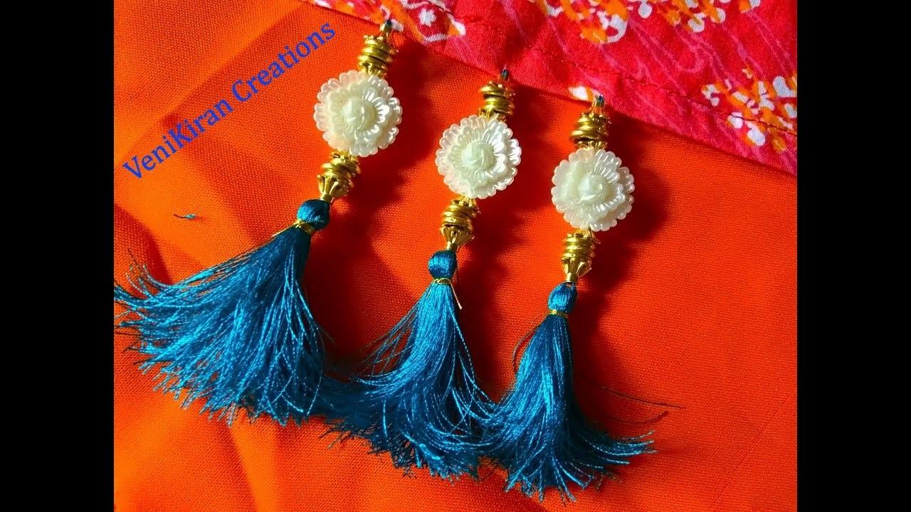 How to Make Saree Tassel.Kuchu design with Beads @ Home - Design 54::Tutorial