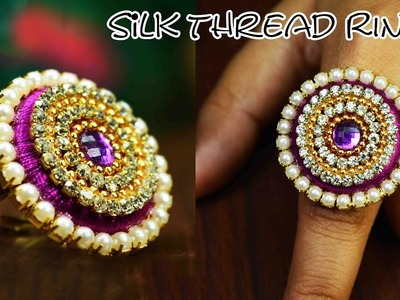How to make silk thread ring | Party wear | DIY