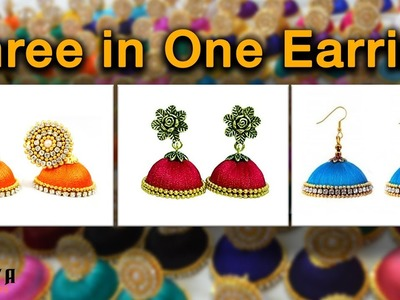 How to Make Three in One Earring with Silk Thread Jhumka in 5 Minutes