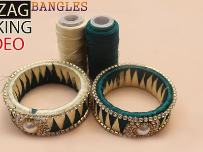 How to Make ZigZag Design silk Thread Bangles Making Tutorial for Beginners