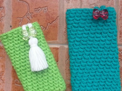Left-handed Version | How to crochet Phone Pouch with Button