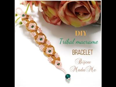Macrame bracelet tutorial. DIY macrame jewelry. How to make tribal macrame bracelet with beads.